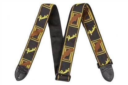 "Fender 2"" Monogrammed Strap Black/Yellow/Brown"