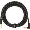 Fender Deluxe Series Instrument Cable 15' Angled Black Tweed
