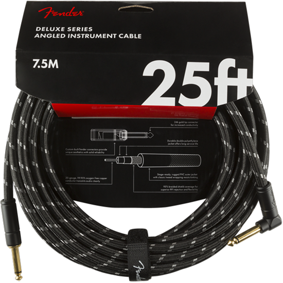 Fender Deluxe Series Instrument Cable 25' Angled Black Tweed