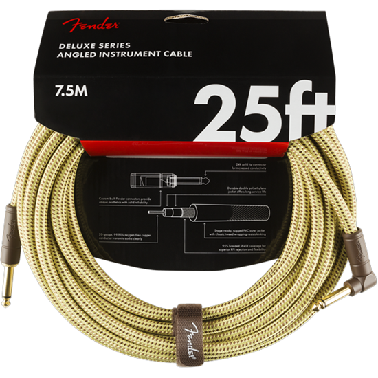 Fender Deluxe Series Instrument Cable 25' Angled Tweed