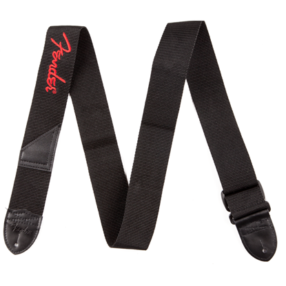 "Bild på Fender 2"" Black Poly Strap w/ Red Fender® Logo"