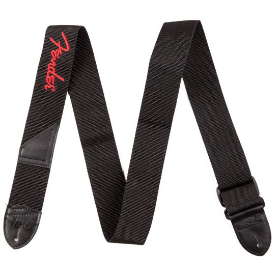"Bild på Fender 2"" Black Poly Strap w/ Red Fender® Logo"