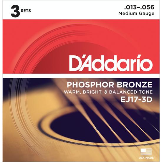 D'Addario EJ17-3D Phosphor Bronze