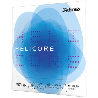 D'Addario Helicore Violin String Set 3/4 Scale Medium Tension